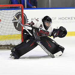BUFFALO, NY - SEP 21,  2017: Ontario Junior Hockey League Governors Showcase game between the Trenton Golden Hawks and Milton Icehawks, Noah Battaglia #39 of the Milton Icehawks protects the crease during the third period.<br /> (Photo by Andy Corneau / OJHL Images)