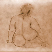 Sitting fat nude woman as seen from behind. Photograph of an Acrylic painting by Vladi Alon. Property release available