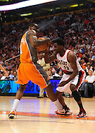 Mar. 21 2010; Phoenix, AZ, USA; Phoenix Suns forward Amare Stoudemire (1) and Portland Trailblazers forward Martell Webster (23) fight for the ball in the first half at the US Airways Center.   Mandatory Credit: Jennifer Stewart-US PRESSWIRE.