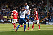 Bury Midfielder, Kelvin Etuhu (4) and Bury Midfielder, Danny Mayor (10) clelebrate during the EFL Sky Bet League 1 match between Bury and Charlton Athletic at the JD Stadium, Bury, England on 6 August 2016. Photo by Mark Pollitt.