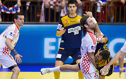 Ivano Balic of Croatia vs Daniel Sarmiento of Spain during handball match between Spain and Croatia in  Main Round of 10th EHF European Handball Championship Serbia 2012, on January 22, 2012 in Spens Hall, Novi Sad, Serbia.  Spain defeated Croatia 24-22. (Photo By Vid Ponikvar / Sportida.com)