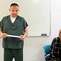 Carlton Sandoval says a few words during a graduation luncheon after recieving a certificate of completion for a 28 day substance abuse treatment program, Wednesday, July 18 at the McKinley Adult Dentention Center.