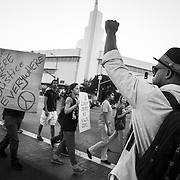 "Protesters on the streets of Los Angeles demonstrating against the decision in Ferguson, Missouri to not indict police officer in the shooting death of unarmed, black teenager Mike Brown. These Photographs And More Are Available in Color. Please Search for ""Ferguson"""