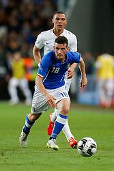 Alessandro Florenzi of Italy gets away from Kieran Gibbs of England - Photo mandatory by-line: Rogan Thomson/JMP - 07966 386802 - 31/03/2015 - SPORT - FOOTBALL - Turin, Italy - Juventus Stadium - Italy v England - FIFA International Friendly Match.