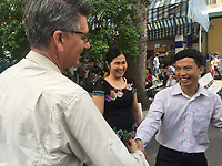 Photographer Michael Amendolia and Tran Van Giap meet in ouside the hopital in Ho Chi Minh city<br /> where his new daughter was born days earlier.