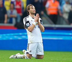 28.09.2013, Liberty Stadion, Swansea, ENG, Premier League, Swansea City vs FC Arsenal, 6. Runde, im Bild Swansea City's Miguel Perez Cuesta 'Michu' reacts during the English Premier League 6th round match between Swansea City AFC and Arsenal FC at the Liberty Stadium, Swansea, Great Britain on 2013/09/28. EXPA Pictures © 2013, PhotoCredit: EXPA/ Propagandaphoto/ David Rawcliffe<br /> <br /> ***** ATTENTION - OUT OF ENG, GBR, UK *****