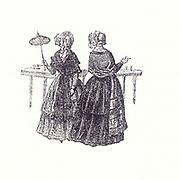 Historic Illustration of two women Bad Ems Circa 1850
