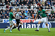 Islam Slimani (#13) of Newcastle United attempts to hold off the challenge of Kieran Gibbs (#3) of West Bromwich Albion as he controls the ball on his chest in the penalty area during the Premier League match between Newcastle United and West Bromwich Albion at St. James's Park, Newcastle, England on 28 April 2018. Picture by Craig Doyle.