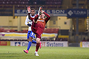 Bradford City midfielder, on loan from Wolverhampton Wanderers, Lee Evans   clears the ball during the The FA Cup match between Bradford City and Bury at the Coral Windows Stadium, Bradford, England on 19 January 2016. Photo by Simon Davies.