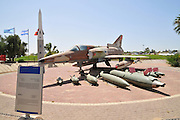 Israel, Hazirim, near Beer Sheva, Israeli Air Force museum. The national centre for Israel's aviation heritage. The Israel Aircraft Industries Kfir an all-weather, multi-role combat aircraft based on a modified Dassault Mirage 5 airframe, with Israeli avionics and an Israeli-made version of the General Electric J79 turbojet engine.