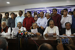 November 11, 2018 - Dhaka, Bangladesh - Jatiya Oikyafront (Opposition parties) leaders called a press conference to declare to join the pull of national election after boycott of the previous election at the National Press Club. (Credit Image: © MD Mehedi Hasan/ZUMA Wire)