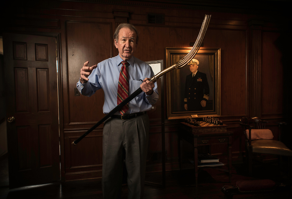 MCLEAN, VA -- 3/21/17 -- Buchanan holds the pitchfork presented to him after winning the 1996 New Hampshire primary. The pitchfork was a symbol that he used repeatedly on the campaign trail. Respected conservative commentator Pat Buchanan reflects on his career at his home in McLean. .…by André Chung #_AC24286