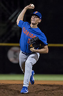 RHP Jack Leftwich (23) closer for the University of Florida faces the University of Miami during a NCAA baseball game at Alex Rodriguez Park in Miami, Florida, Saturday, February 24, 2018. Leftwich got the save after pitching 3 innings and the Gators won 8-2.<br /> <br /> by Samuel Navarro