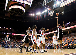 Maryland forward/center Laura Harper (15) shoots against Virginia.  The Virginia Cavaliers women's basketball team fell to the #4 ranked Maryland Terrapins 74-62 at the John Paul Jones Arena in Charlottesville, VA on January 18, 2008.