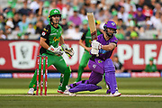 14th January 2019, Melbourne Cricket Ground, Melbourne, Australia; Australian Big Bash Cricket, Melbourne Stars versus Hobart Hurricanes;  Sebastian Gotch of the Melbourne Stars watches the ball sail towards the boundary