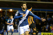 Birmingham City midfielder Jon Toral celebrates goal 1-0 during the Sky Bet Championship match between Birmingham City and Hull City at St Andrews, Birmingham, England on 3 March 2016. Photo by Alan Franklin.