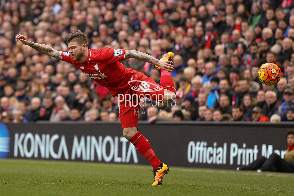 Liverpool defender Alberto Moreno  during the Barclays Premier League match between Liverpool and Sunderland at Anfield, Liverpool, England on 6 February 2016. Photo by Simon Davies.