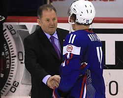 Ernest Aljancic and Anze Kopitar at best player of the game ceremony at ice-hockey game Slovenia vs Slovakia at Relegation  Round (group G) of IIHF WC 2008 in Halifax, on May 09, 2008 in Metro Center, Halifax, Nova Scotia, Canada. Slovakia won 5:1. (Photo by Vid Ponikvar / Sportal Images)