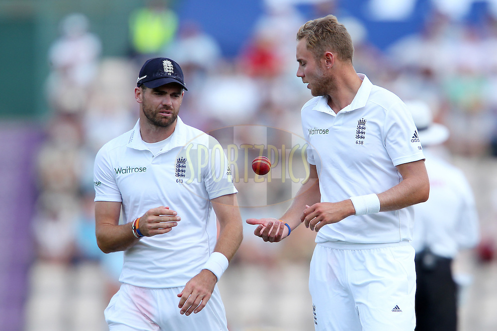 James Anderson of Englandand Stuart Broad of England during day three of the third Investec Test Match between England and India held at The Ageas Bowl cricket ground in Southampton, England on the 29th July 2014<br /> <br /> Photo by Ron Gaunt / SPORTZPICS/ BCCI