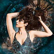 Painterly rendition of a woman with auburn hair striking a pose against a teal background with historical clock faces