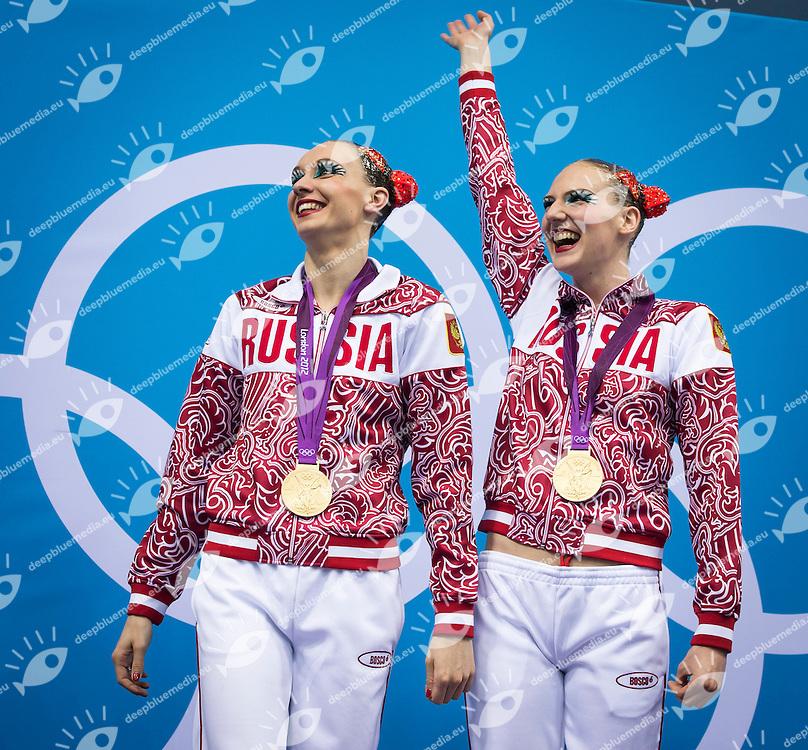 ISHCHENKO Natalia, ROMASHINA Svetlana Russia (Gold Medal).Synchronized Swimming duet final podium.London 2012 Olympics - Olimpiadi Londra 2012.day 12 Aug.7.Photo G.Scala/Deepbluemedia.eu/Insidefoto