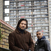 Menhaj Huda director of Kidultood (left) with Noel Clarke Screenwriter of Kidulthood infront of Trelick Tower in West London where much of the film was set.