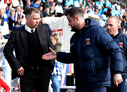 Doncaster Rovers manager Darren Ferguson and Hartlepool United manager Matthew Bates shake hands - Mandatory by-line: Robbie Stephenson/JMP - 06/05/2017 - FOOTBALL - The Northern Gas and Power Stadium (Victoria Park) - Hartlepool, England - Hartlepool United v Doncaster Rovers - Sky Bet League Two