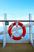 A life buoy onboard the cruise ship Oasis of the Seas. The ship, currently the largest in the world, is owned by Royal Carribean Cruise Line.