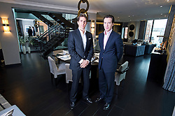 **Home supplement** © Ben Cawthra. 22/01/2013. Property developers from Fichatton, Alex Michelin and Andrew Dunn in the dining area of the penthouse apartment at The Lansbury, on Basil Street, London. The Lansbury was recently refurbished in to 6 luxury apartments opposite Harrods in central London. Photo credit: Ben Cawthra.