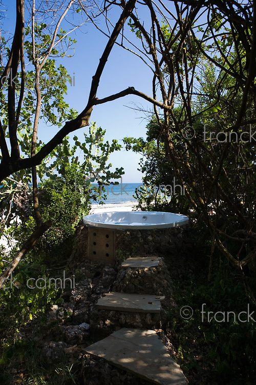 jaccuzzi in tropical nature with a view on the sea