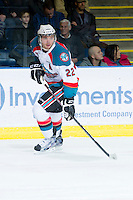 KELOWNA, CANADA - JANUARY 11:  MacKenzie Johnston #22 of the Kelowna Rockets skates on the ice against the Tri City Americans at the Kelowna Rockets on January 11, 2013 at Prospera Place in Kelowna, British Columbia, Canada (Photo by Marissa Baecker/Shoot the Breeze) *** Local Caption ***