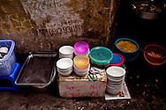 Bowls piled up along a street sidewalk, Hanoi, Vietnam, Southeast Asia