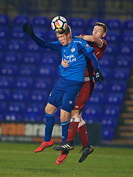 BIRKENHEAD, ENGLAND - Tuesday, December 19, 2017: PSV Eindhoven's Nikolai Laursen during the Under-23 FA Premier League International Cup Group A match between Liverpool and PSV Eindhoven at Prenton Park. (Pic by David Rawcliffe/Propaganda)