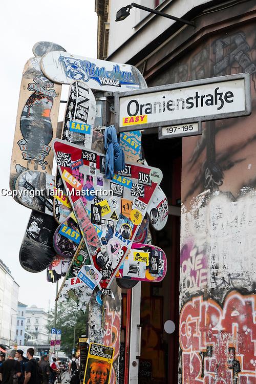 Street sign on Oranienstrasse in bohemian district of Kreuzberg  in Berlin Germany