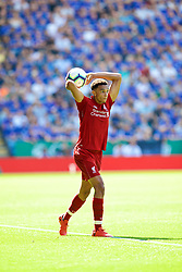 LEICESTER, ENGLAND - Saturday, September 1, 2018: Liverpool's Trent Alexander-Arnold takes a throw-in during the FA Premier League match between Leicester City and Liverpool at the King Power Stadium. (Pic by David Rawcliffe/Propaganda)