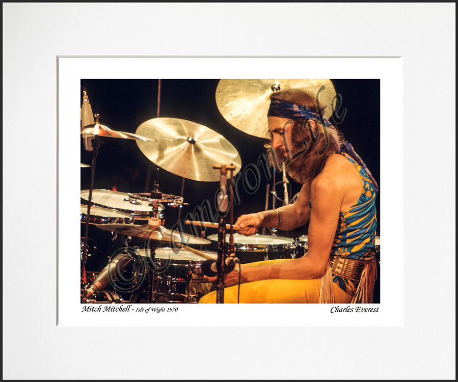 Mitch Mitchell - An affordable archival quality matted print ready for framing at home.<br /> Ideal as a gift or for collectors to cherish, printed on Fuji Crystal Archive photographic paper set in a neutral mat (all mounting materials are acid free conservation grade). <br /> The image (approx 6&quot;x8&quot;) sits within a titled border. The outer dimensions of the mat are approx 10&quot;x12&quot;