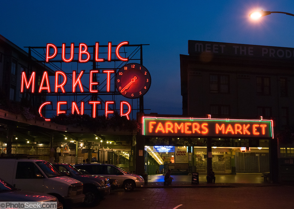 Pike street public market center and farmers market neon for 7 salon downtown seattle