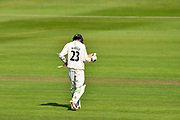 Wicket - Haseeb Hameed of Lancashire walks back to the pavilion after being dismissed by Jack Leach of Somerset during the Specsavers County Champ Div 1 match between Somerset County Cricket Club and Lancashire County Cricket Club at the Cooper Associates County Ground, Taunton, United Kingdom on 14 September 2017. Photo by Graham Hunt.