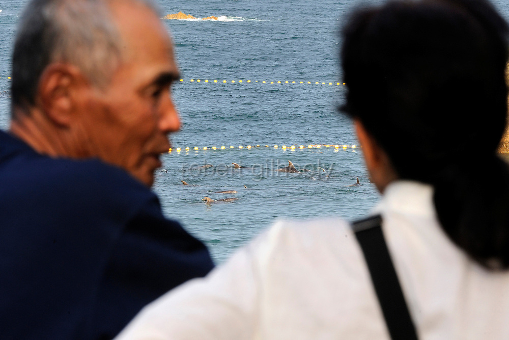 "A couple looks out at bottle nose dolphins that are trapped in nets inside the cove that is the at the center of the controversial film ""The Cove"" in Taiji, Japan on 10 September 2009. .Photographer: Robert Gilhooly"