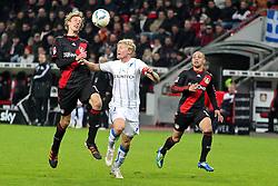 02.12.2011, BayArena, Leverkusen, GER, 1.FBL, Bayer 04 Leverkusen vs TSG Hoffenheim, im BildStefan Kiessling (Leverkusen #11) gewinnt das Kopfballduell gegen Andreas Beck (Hoffenheim #2) und gibt zu Sidney Sam (Leverkusen #18) ab, der zum 2:0 trifft // during the 1.FBL, Bayer Leverkusen vs TSG Hoffenheim on 2011/12/02, BayArena, Leverkusen, Germany. EXPA Pictures © 2011, PhotoCredit: EXPA/ nph/ Mueller..***** ATTENTION - OUT OF GER, CRO *****