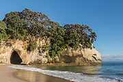 A natural archway forms the famous Cathedral Cove on Coromandel Peninsula, New Zealand.