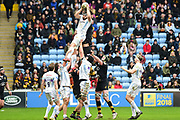 Exeter chiefs win the first line out during the Aviva Premiership match between Wasps and Exeter Chiefs at the Ricoh Arena, Coventry, England on 18 February 2018. Picture by Dennis Goodwin.