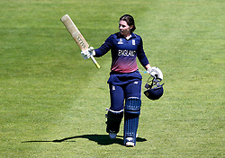 Tammy Beaumont of England Women raises her bat after being caught out for 148 - Mandatory by-line: Robbie Stephenson/JMP - 05/07/2017 - CRICKET - County Ground - Bristol, United Kingdom - England Women v South Africa Women - ICC Women's World Cup Group Stage
