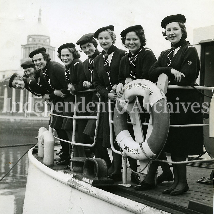 Malahide Sea Rangers posing in their new uniforms in 1958. Pictured are Ann Fry, Barbara Boyd, Margaret Dawson, Hilary Norton, Ruth McMullan, Diana Gilbert, Vivian Morrison and Vivian Wakely. (Part of the Independent Newspapers Ireland/NLI Collection)
