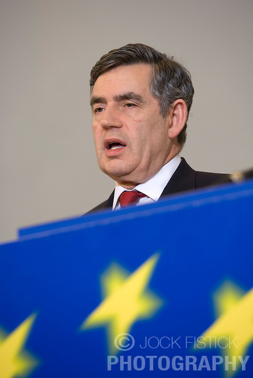 Gordon Brown, U.K.'s prime minister, speaks during a press conference at the European Commission headquarters in Brussels, Belgium, on Thursday, Feb. 21, 2008. Gordon Brown is on his first official visit to the European Union since becoming prime minister. (Photo © Jock Fistick).