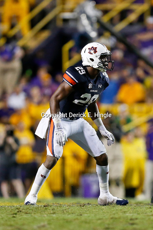 Sep 21, 2013; Baton Rouge, LA, USA; Auburn Tigers defensive back Brandon King (29) against the LSU Tigers during the second half of a game at Tiger Stadium. LSU defeated Auburn 35-21. Mandatory Credit: Derick E. Hingle-USA TODAY Sports
