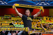 A Borussia Dortmund fan during the UEFA Champions League match against Arsenal at the Emirates Stadium, London<br /> Picture by Richard Calver/Focus Images Ltd +447792 981244<br /> 26/11/2014