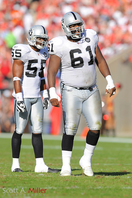 Tampa, Fl: Dec 28, 2008 -- Oakland Raiders defensive tackle Gerard Warren (61) and linebacker Jon Alston (55) during the Raiders game against the Tampa Bay Buccaneers at Raymond James Stadium....©2008 Scott A. Miller