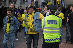 © licensed to London News Pictures. London, UK 25/05/2013. German football fans walking around Webley Stadium after clashes between Borussia Dortmund and Bayern Munich fans reported ahead of Champions League final in London. Photo credit: Tolga Akmen/LNP