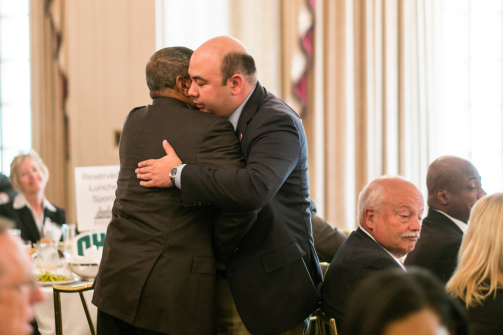 Ohio Speaker of the House Cliff Rosenberger gets a hug from Ohio University President Roderick McDavis announding Rosenberger as the keynote speaker during the Ohio University State Government Alumni Luncheon on Tuesday, May 5, 2015.  Photo by Ohio University  /  Rob Hardin